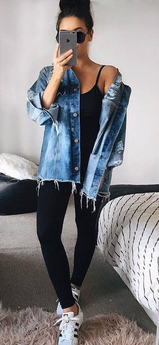 trendy outfit denim jacket + top + skinnies
