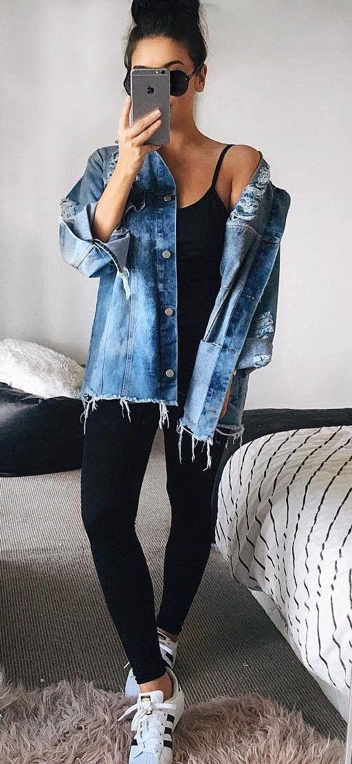 trendy outfit denim jacket + top + skinnies