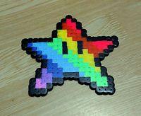 Hama perler bead sprite art Super Mario Rainbow Star Wall Decoration, Car Dangle