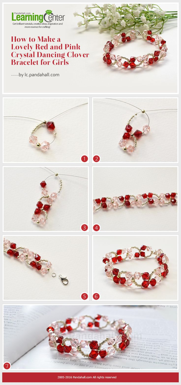 How to Make a Lovely Red and Pink Crystal Dancing Clover Bracelet for Girls from LC.Pandahall.com
