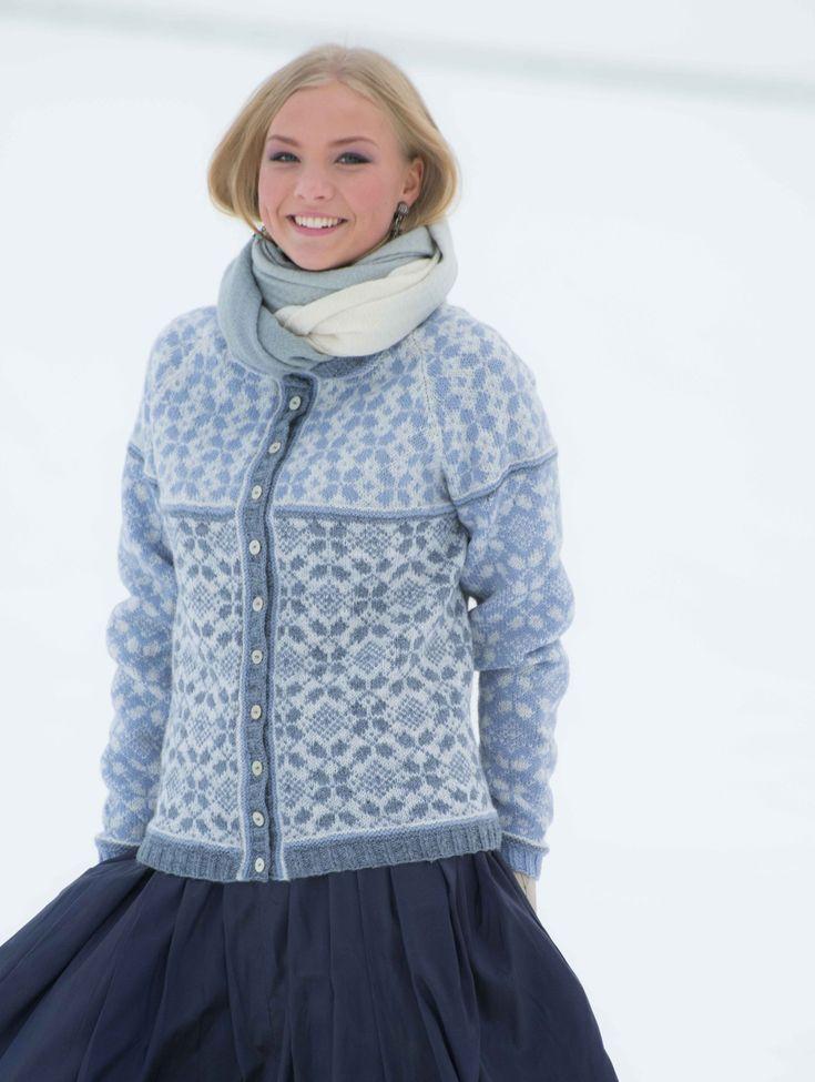 Hillesvåg, Amanda - mønsterstrikket jakke med raglan