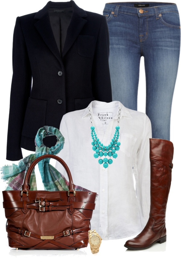 """Blazer & Jeans"" by chelseagirlfashion ❤ liked on Polyvore"