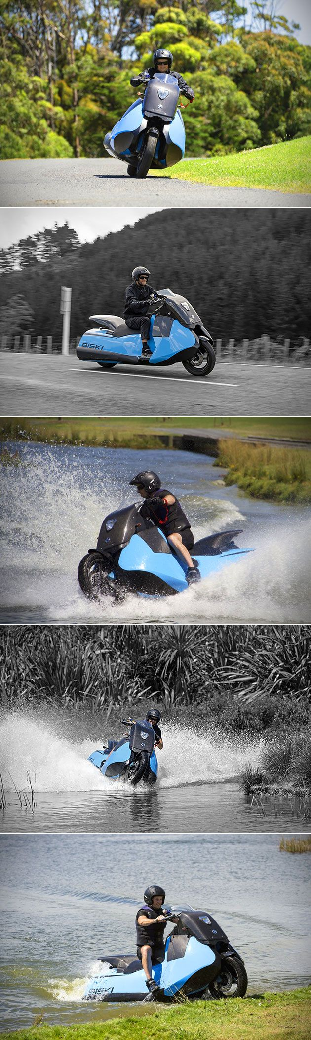 Gibbs biski is a motorcycle on land but go into water the amphibious vehicle becomes a jet ski
