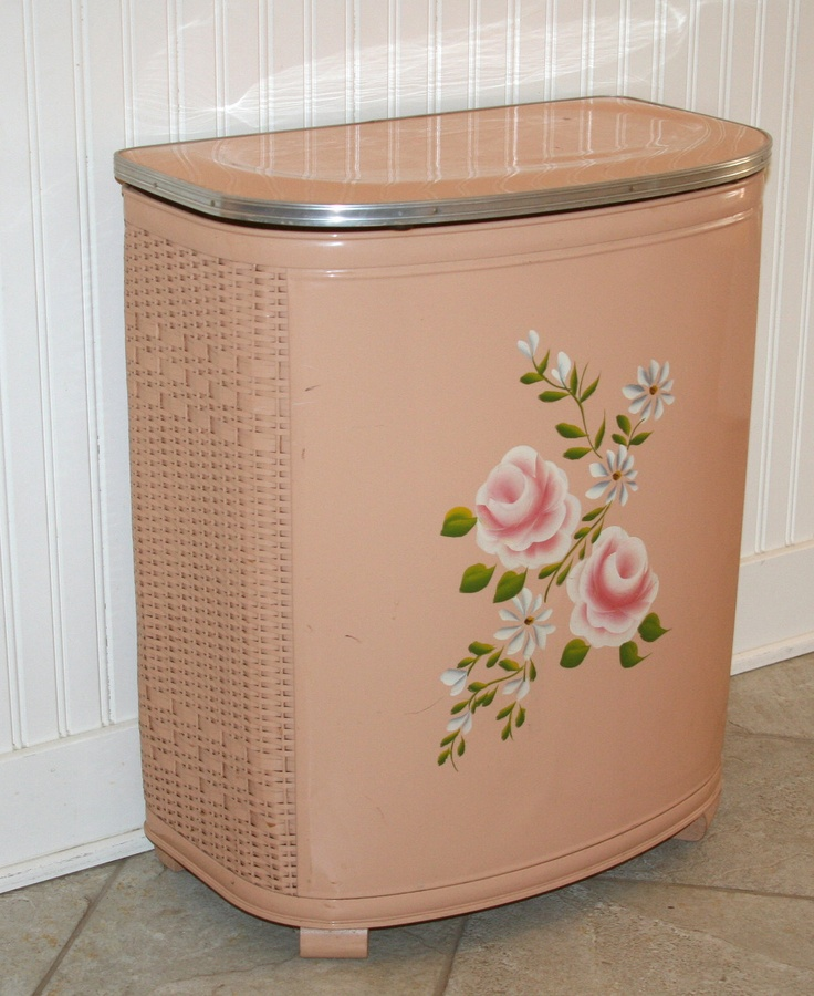Vintage Hand Painted Laundry Hamper in every bathroom of the past