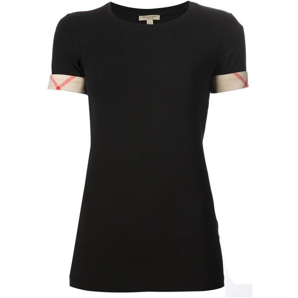 Burberry Cotton T-Shirt ($125) ❤ liked on Polyvore featuring tops, t-shirts, black, burberry, cotton t shirts, checkered top, short sleeve tops and burberry tee