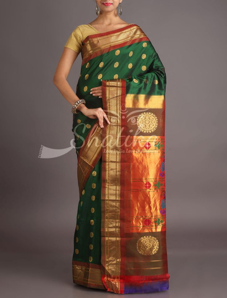 Aakriti Bottle Green With Golden Bootis Oblique Border Paithani Silk Saree