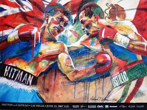 "Ricky ""Hitman"" Hatton vs Jose Luis Castillo Limited Edition Fight Poster Very Rare by H.O.F. Artist Richard T. Slone"