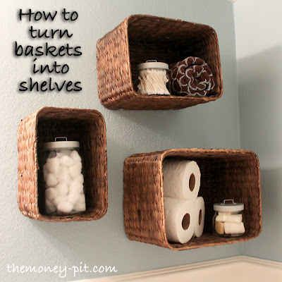 Craft Charming Shelves from Baskets. | 19 Insanely Clever Organizing Hacks