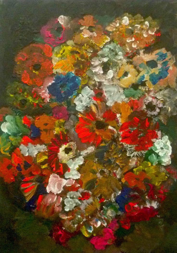 """""""Florissimo"""" peinture acrylique réalisée sur carton entoilé. Original de l'artiste Soffya. 33 cm x 24 cm. Pièce unique : création originale de Soffya. © Tous droits réservés (article L 112-1 du code de la propriété intellectuelle)."""
