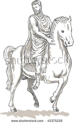 vector hand sketched drawing illustration of a Roman emperor general or soldier riding horse  #romanemperor #sketch #illustration