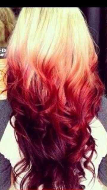 Awesome reverse red ombre. I would so do this to my hair