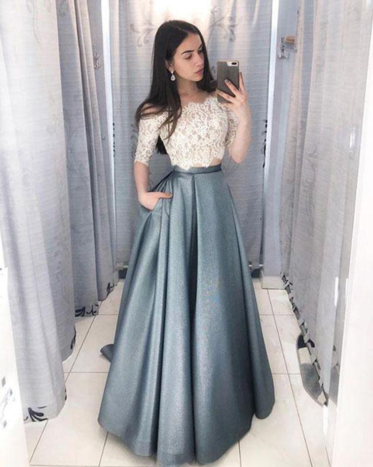 Vestiti Cerimonia Due Pezzi.2019 Trendy Prom Dresses Prom Dresses With Sleeves Grey Prom