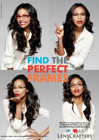 Zoe Saldana looking gorgeous in the Lens Crafters ad