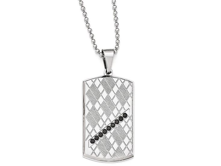 Chisel Stainless Steel Polished and Textured Black CZ Dog Tag Necklace