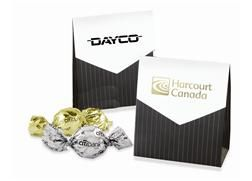 Mini Treat Pouch | Add a formal touch to any occasion, with our pinstriped Mini Treat Pouch. Choose a foil stamped imprint or one of our stock imprint colors. Filled with two Twist Wrapped Truffles or two pieces of English Butter Toffee.