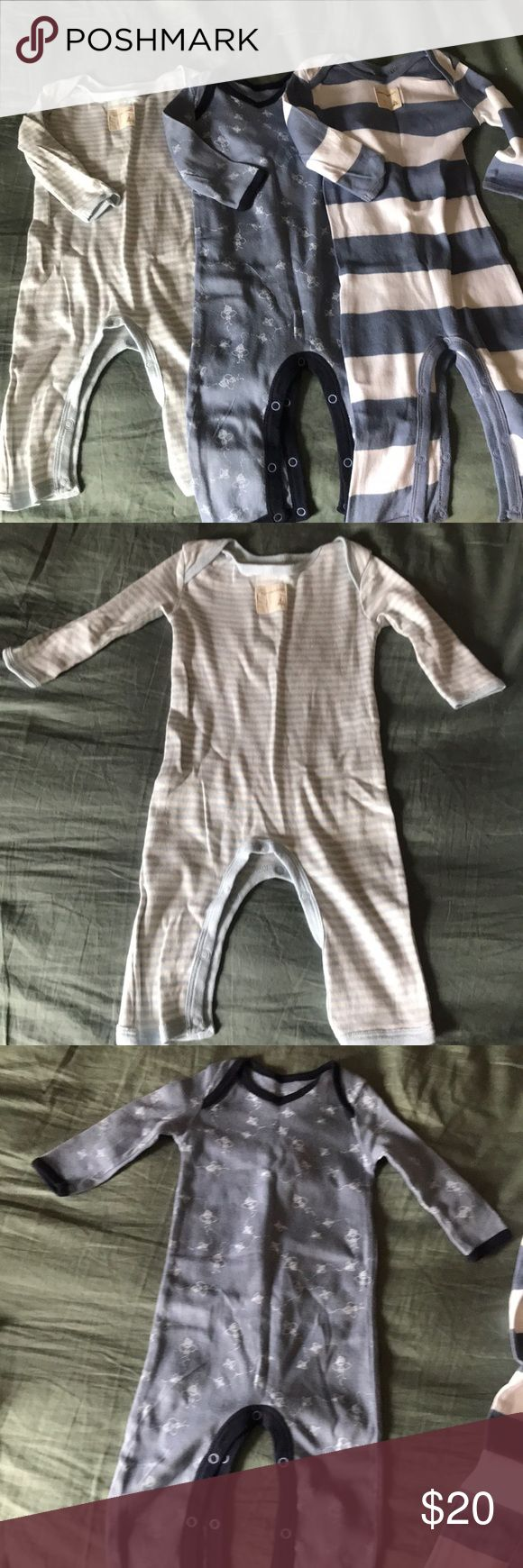 3 Burts Bees Onesies New no tags....all 3 were washed/pressed and never worn 0-3 months snap closure on bottom round legs , organic ...each retail for over 11 bucks , priced for all 3 Burt's Bees Baby One Pieces