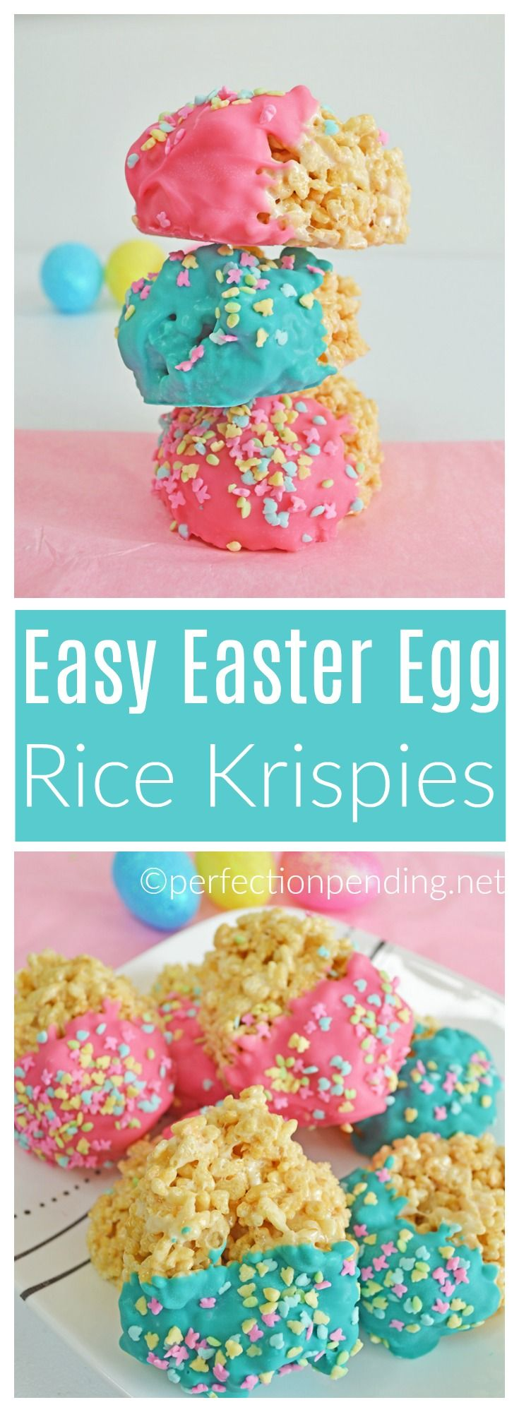 These Easter Egg Rice Krispie treats are a fun and easy alternative to making traditional rice krispie treats. These would be a fun kid friendly recipe to take for easter and it's so easy your kids can help make them too. These easter egg krispie treats are the perfect addition to any Easter activity. #easter #easterrecipe #diy #easterricekrispietreats #ricekrispies #recipe #eastertreats #easterideas #recipesforeaster alt=