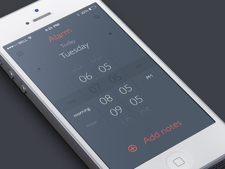 Alarm App #iphone #interface #UI #GUI #UX #inspiration #design #app #flat #clock