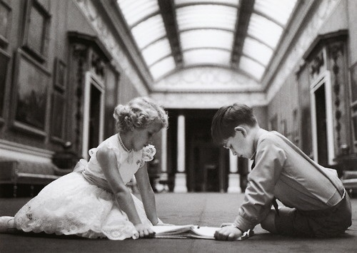 Prince Charles and Princess Anne, The Picture Gallery, Buckingham Palace, 1957