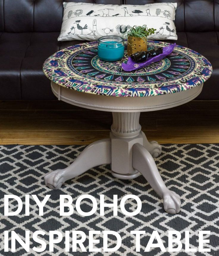Boho Inspired Fabric Table using a tapestry for teen room decor. This was a thrift store find and you so cannot tell after the furniture makeover!
