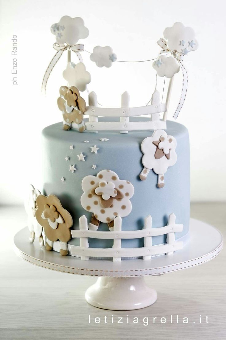 Counting sheep baby shower cake