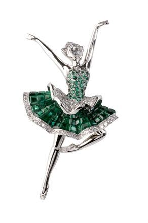 Van Cleef & Arpels emeralds, diamonds, platinum Ballerina pin