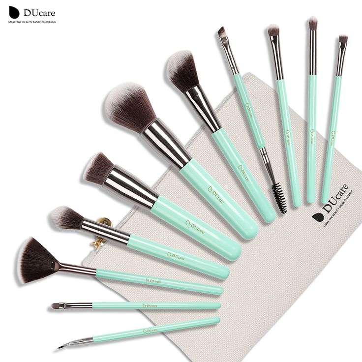 DUcare 11 pz Pennelli Trucco Kit Set Powder Foundation Ombretto Eyeliner Lip Strumento Pennello verde menta morbidi Capelli Sintetici