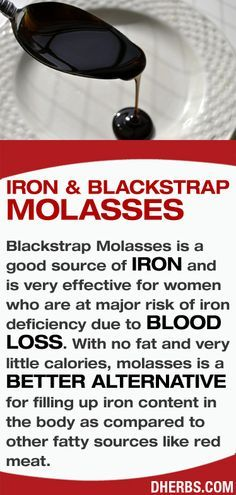 Blackstrap Molasses is a good source of IRON and is very effective for women who are at major risk of iron deficiency due to blood loss. Description from pinterest.com. I searched for this on bing.com/images