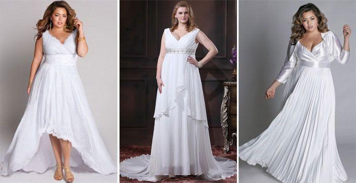 Греческие свадебные платья С глубоким V-образным вырезом