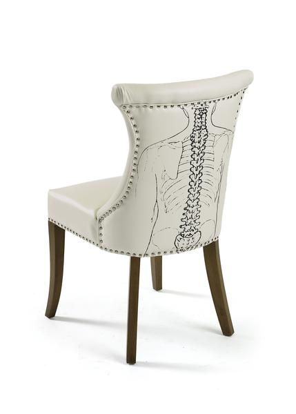 Backbone Dining Chair in White Leather (Set of 2)