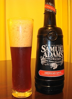 """American Kriek, """"The intense black cherry character in this beer comes from Balaton cherries, which were discovered in Hungary and are now grown in Michigan. These special cherries are prized for their depth of flavor.  The tartness from the cherries is balanced by a rich, malty character with toasted oak notes added from the barrel aging."""""""