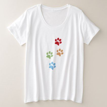 Dog footprint plus size T-Shirt - dog puppy dogs doggy pup hound love pet best friend