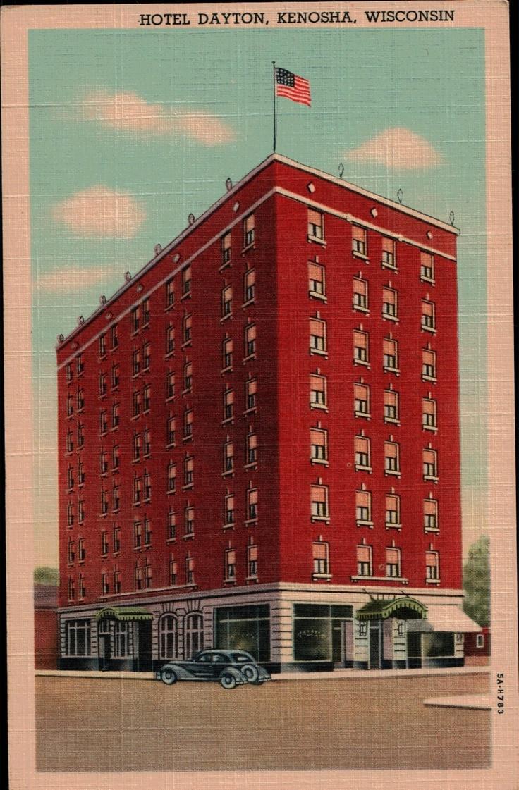 Hotel dayton kenosha wi downtown vintage postcard