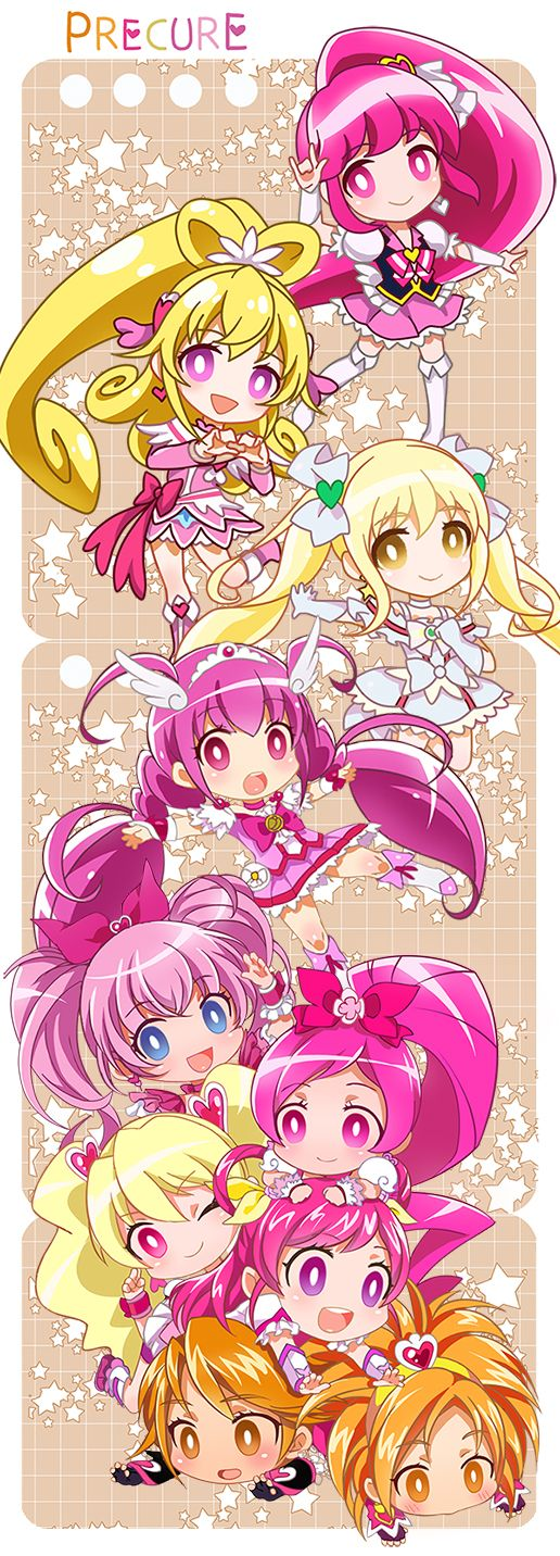 Cure Lovely,Cure Heart,Cure Echo,Cure Happy,Cure Melody,Cure Blossom,Cure Dream,Cure Black & Cure Bloom