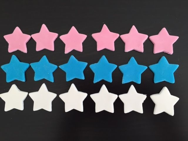 50 Edible Fondant Stars Cake or Cupcake Toppers Birthday Party Wedding
