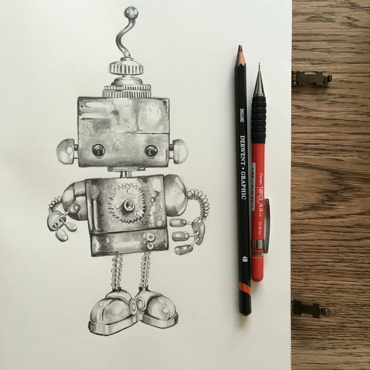 Cute robot, graphite pencil drawing