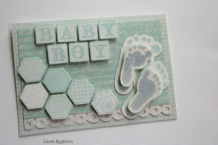 """""""Baby Boy Card"""" – By Linda Eggleton Kaisercraft Products: Little One – P1548, Tiny Bundle – P1551, Precious Gift – P1546, Boy Collectables – CT799"""