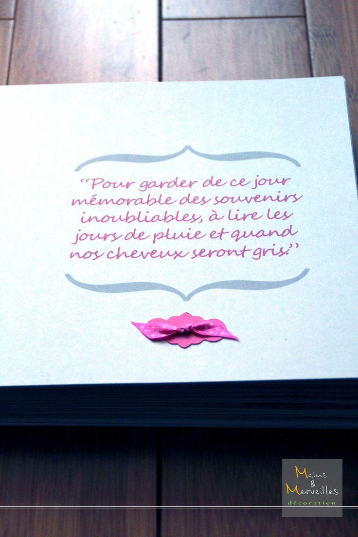 Livre d'or - Message d'accueil http://www.mainsetmerveillesdeco.fr/livre-dor-gris-fushia-petits-pois/