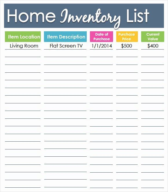 Printable Inventory List Template Inspirational Inventory List Templates In 2020 Home Inventory Inventory Printable List Template