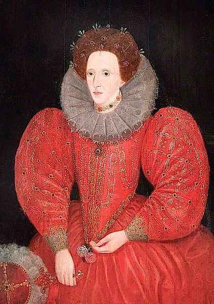 ''Elizabeth I of England Windsor and Maidenhead Collection.jpeg 1580s?''. Clearly a formulaic image and one from what was probably a busy production line. The Queen holds red ( Lancaster) and white (York) roses stressing her legitimacy as a Tudor monarch. Her bat-like fan predates more elegant styles.