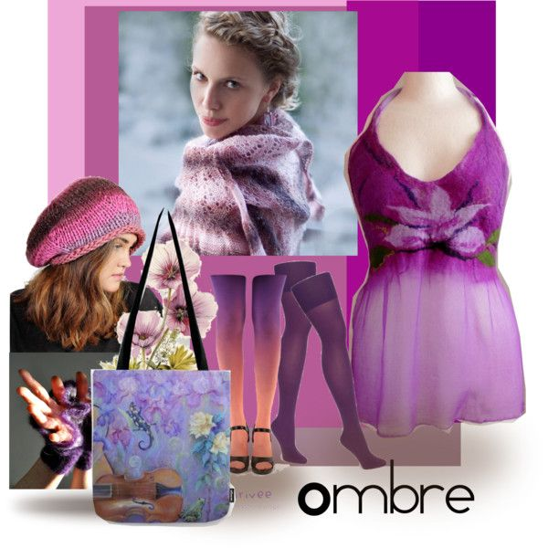 Ombre outfits. #purple #bodiacous #ombre #bag #hat #dress #shawl #canisartstudio