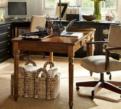 Printer's Writing Desk (Pottery Barn): Room set up--wrap-around desk/shelves w/ center desk for projects