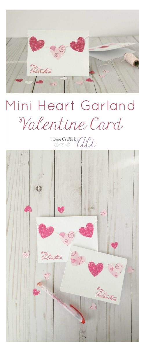 Mini Paper Heart Garland Valentine Card - make this quick and easy super cute card for your sweetheart this Valentine's Day