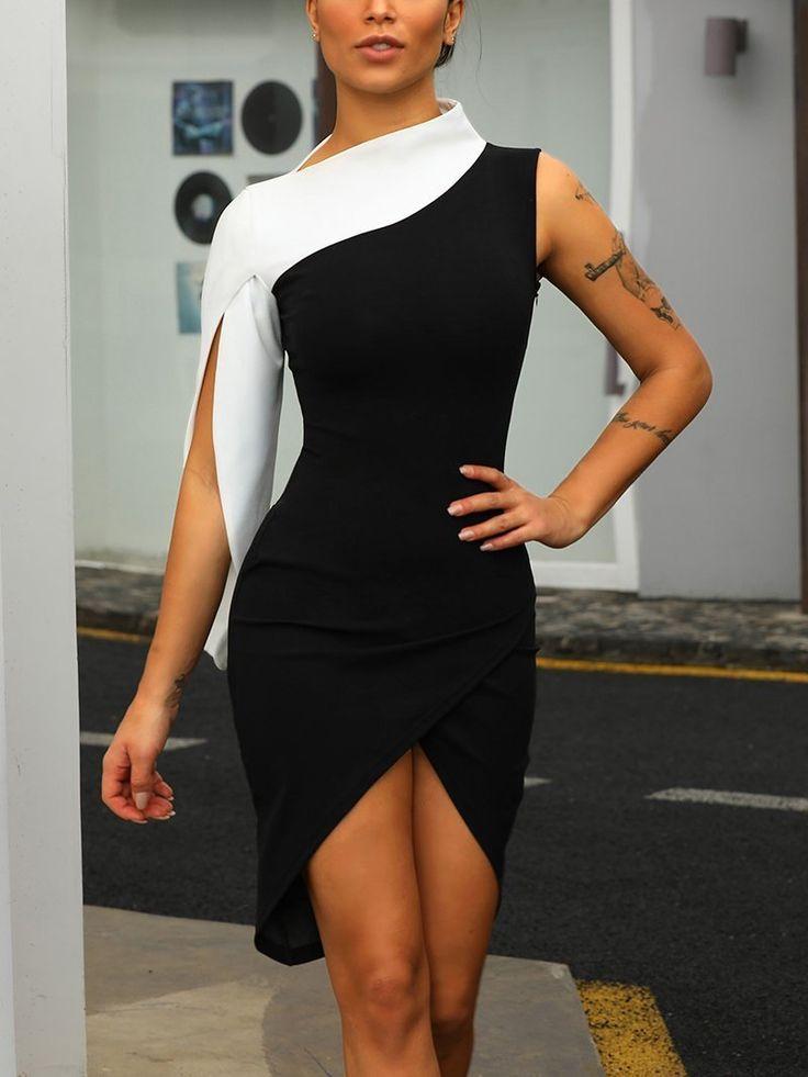 Fashion Splicing Asymmetric Sleeveless Bodycon Dresses 1