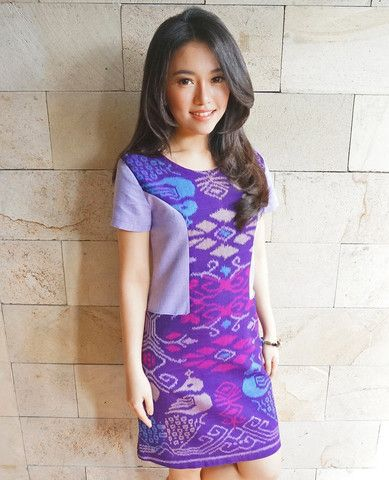 Color Blocked Dress Purple | batik kultur