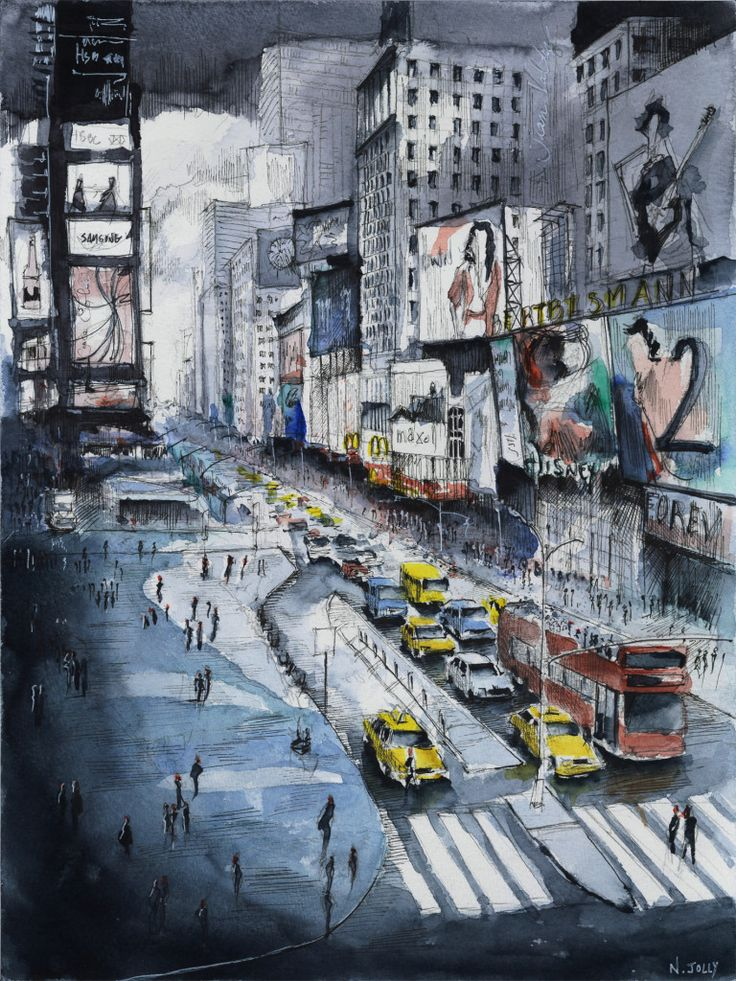 Time square – New York. Watercolor painting / Aquarelle. By Nicolas Jolly.
