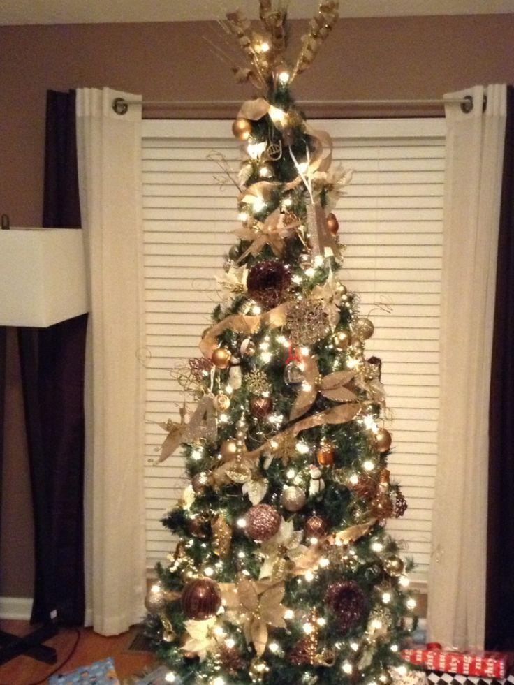 Chocolate and gold 7ft slim Christmas tree