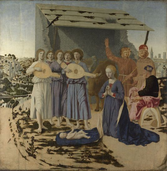 Piero della Francesca, about 1415/20 - 1492, The Nativity, 1470-5, Oil on poplar, 124.4 x 122.6 cm. http://www.nationalgallery.org.uk/paintings/NG908