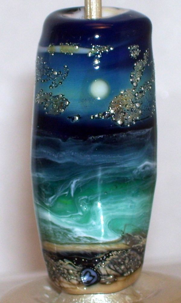 WSTGA~MOONLIT SEA~OCEAN STARS European charm handmade lampwork focal glass bead #Lampwork By Molly Cooley