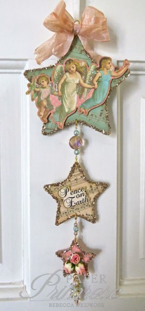 Vintage style Christmas ornament made with digital images from Heather Hudson, glass glitter, rosebuds, beads, etc. Pastels: